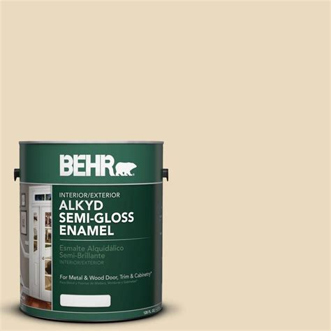 behr 1 gal ae 26 true beige semi gloss enamel alkyd interior exterior paint 390001 the home