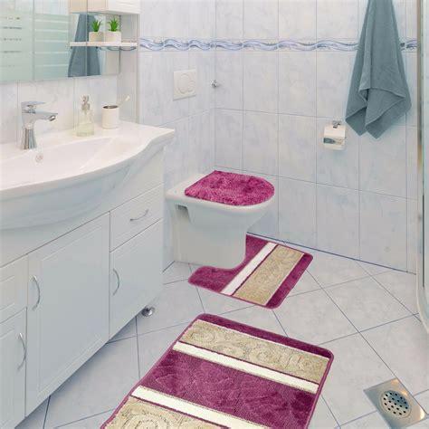 Scroll 3 Piece Bathroom Rug Set, Bath Rug, Contour Rug