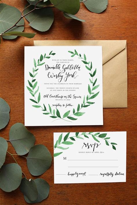 Green Themed Wedding Invitations