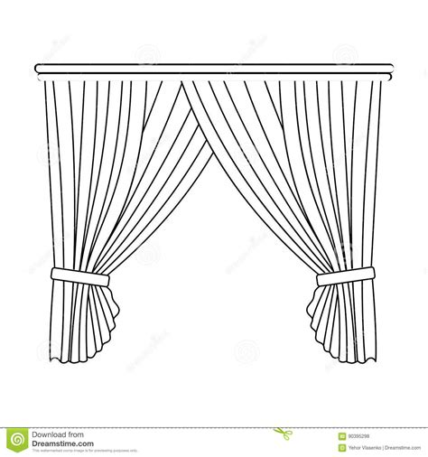 curtain outline curtains with drapery on the cornice curtains single icon