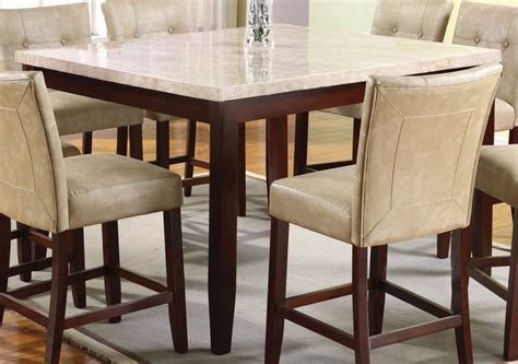 marble top bar height table acme britney square white marble top counter height table in espresso 17059 by dining