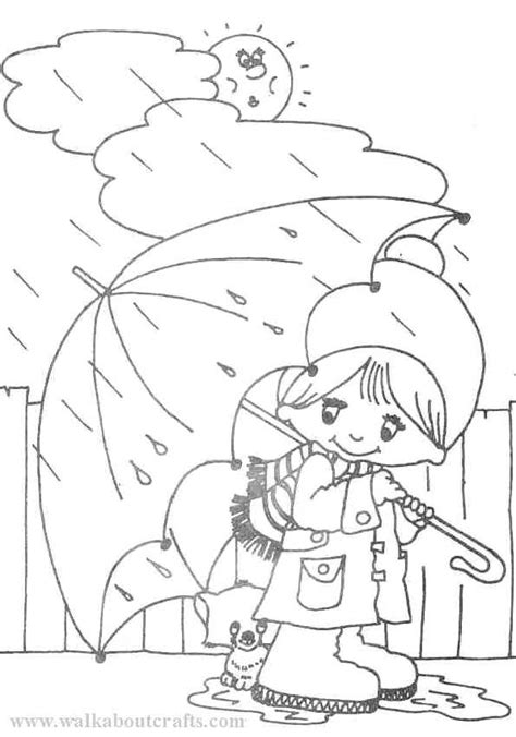 Free Coloring Pages Of Drawing Rainy Day Rainy Day Coloring Page