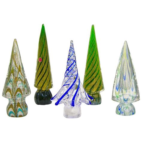 vintage italian murano glass christmas tree sculptures by