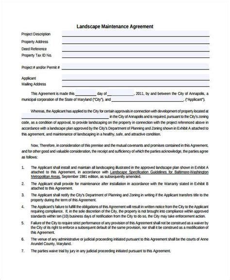 Sle Maintenance Contract Forms 8 Free Documents In Word Pdf Landscaping Contract Template Pdf