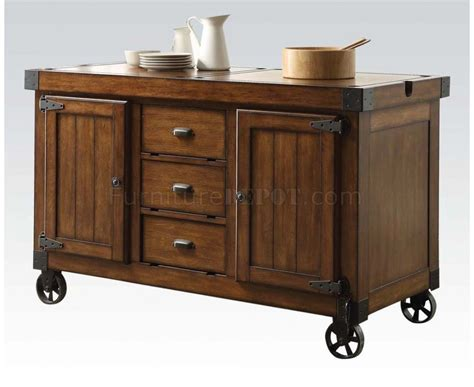 kabili kitchen cart island in tobacco finish lockable