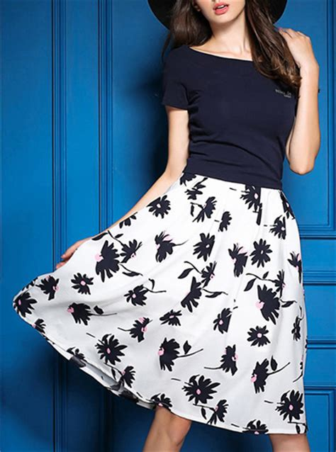18465 White Flower Denim Skirt s 2 black white floral skirt black