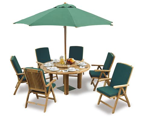 Teak Patio Table And Chairs Titan Teak 6 Seater Patio Table And Reclining Chairs Set Teak