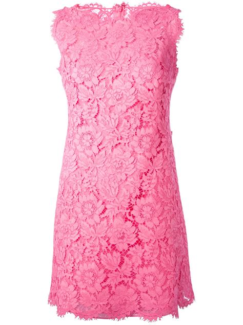 Dress Pink Floral lyst valentino floral lace fitted dress in pink