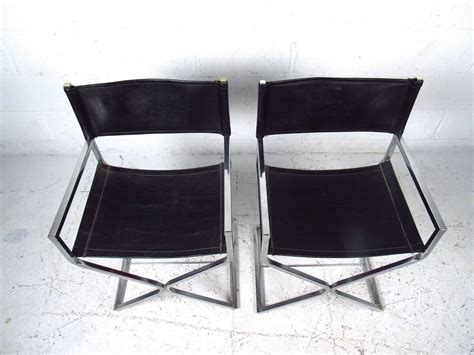 mid century set  chrome  leather director style chairs  virtue  sale  stdibs