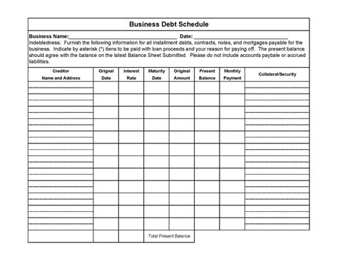 business schedule template commercial alternative business debt schedule