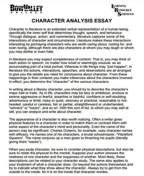 character analysis sle essay 5 character analysis free sle exle format