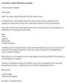 Wedding Invitation Covering Letter invitation letter wedding sle just letter templates