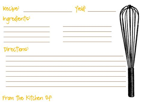 Receipe Template by Fill In Recipe Card Templates Myideasbedroom