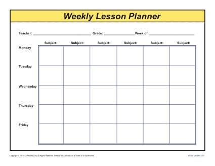 weekly detailed multi class lesson plan template elementary