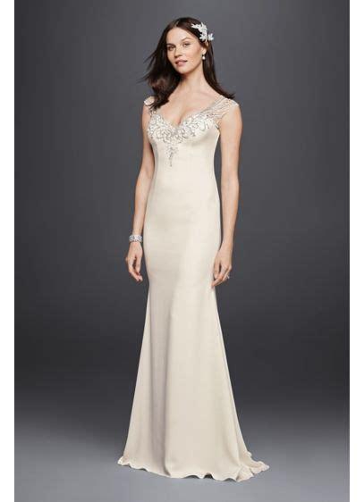Sale Longdres Crep Kotak beaded stretch crepe wedding dress davids bridal