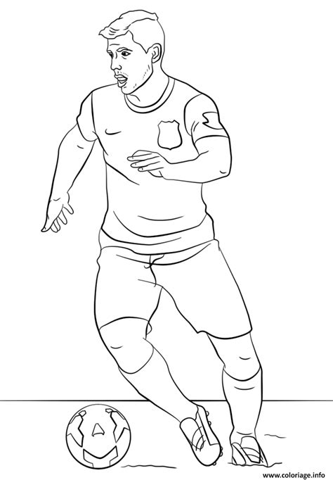 Coloriage sergio aguero foot football - JeColorie.com