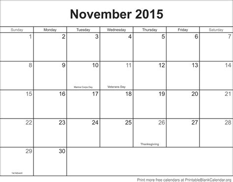 2015 printable monthly calendar template november 2015 printable calendar template printable