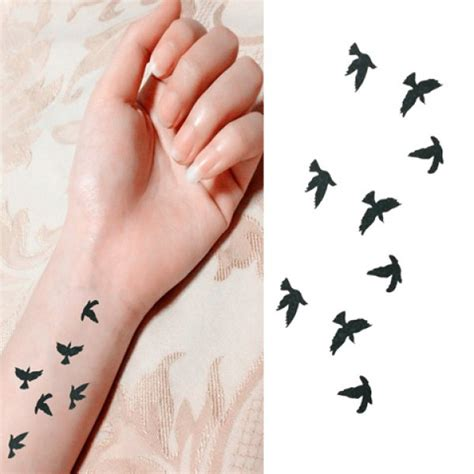 Flying Bird Black Bag chic flying bird pattern waterproof sticker for