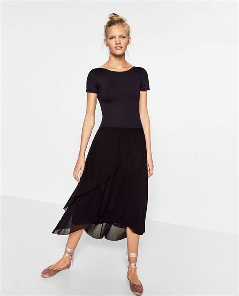 layered tulle skirt midi skirts zara united