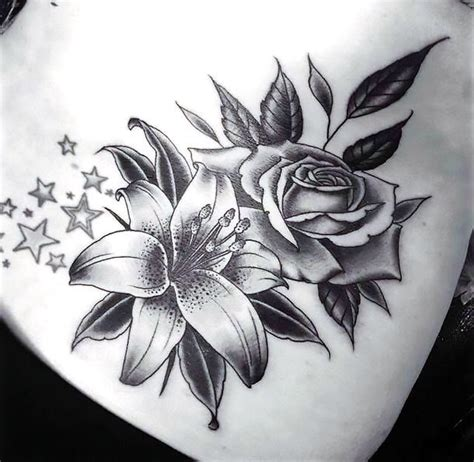 rose and lily tattoos black and design