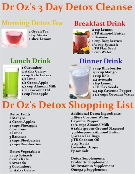 5 Day Clean Detox Plan by Get Dr Oz S 3 Day Detox Cleanse Drink Recipes And A