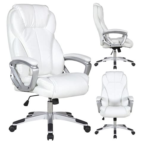 white leather office chair executive manger pu leather office chair white high back