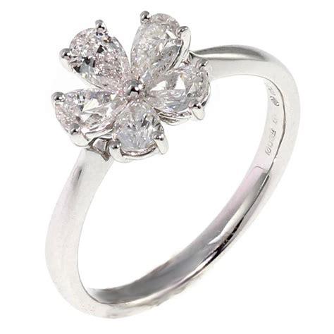 18ct white gold 1 00ct pear shape flower cluster diamond