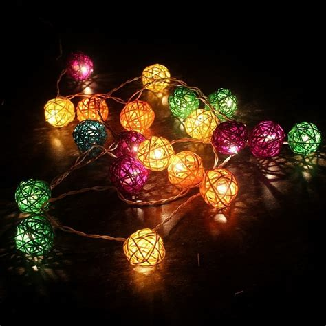 3m 20 Led Rattan Ball Fairy String Lights Patio Lighting Colorful String Lights