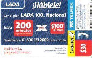 Lada Telmex Tarjeta Telef 243 Nica Hablele Lada 100 Nacional Reverso