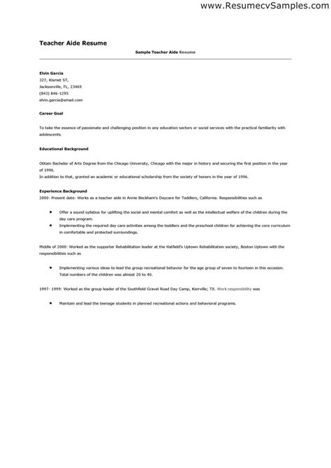 Resume Sample For Teacher Assistant