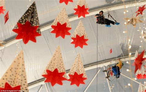 john lewis christmas decorations are put up at london