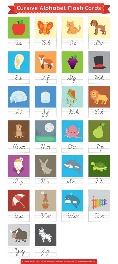 printable cursive alphabet flash cards 132 best flash cards at flashcardfox com images on pinterest