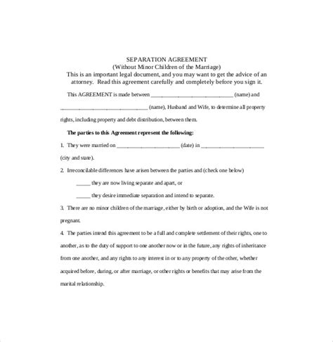 marriage separation agreement template free separation agreement template 13 free word pdf