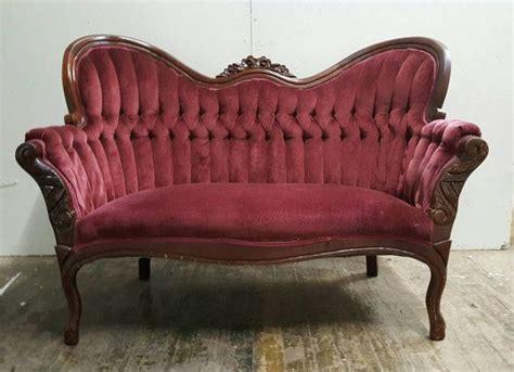 antique red velvet tufted loveseat vintage burgundy sofa