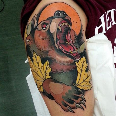 traditional bear tattoo animals animals animals it done with