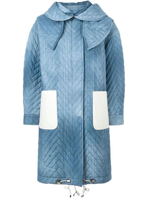 Denim Padded Coat lyst fendi padded denim effect coat in blue