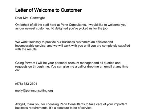 New Customer Greeting Letter Letter Of Welcome
