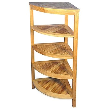 bathroom corner shelf unit buy 5 shelf solid teak corner shelf unit from bed bath