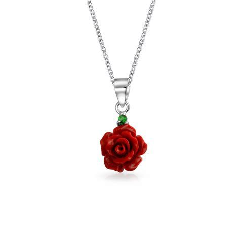 925 Sterling Red Resin Flower Simulated Emerald CZ