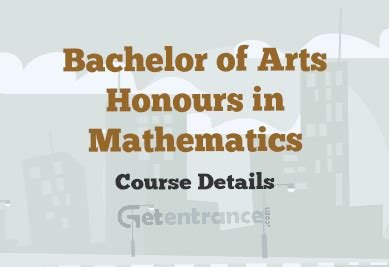 Mba After Maths Honours by Bachelor Of Arts Honours In Mathematics Course Details