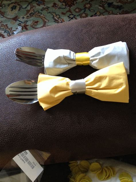 bow tie napkins our wedding grey yellow