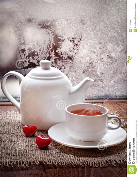 Tea Cup And Teapot With Red Hearts In Winter Frosty Day Stock Photo   Image: 37143920