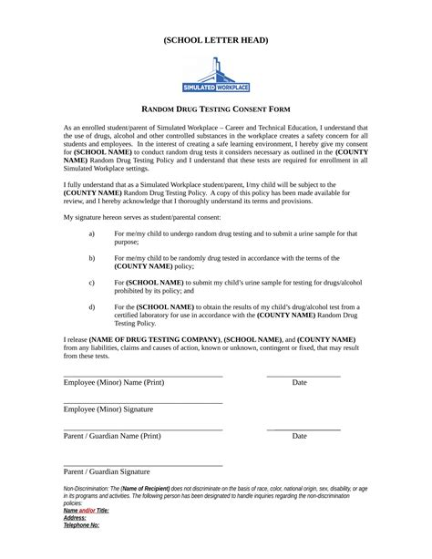 test policy template 14 testing consent forms free pdf format