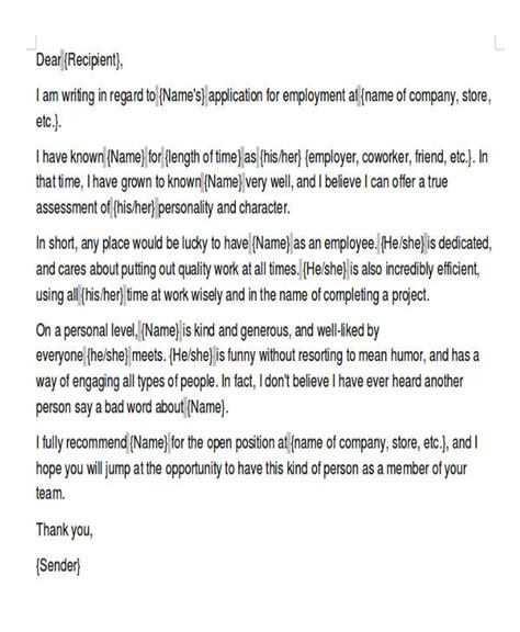 Character Reference Letter For Internship exles of reference letters