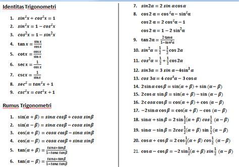 rumus identitas trigonometri matematrick