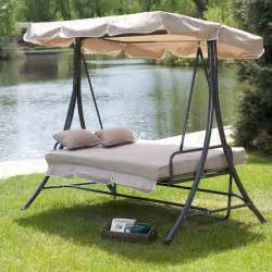 Swing Bed With Canopy Coral Coast Lazy Caye 3 Person All Weather Swing Bed With Toss Pillows Cappuccino Porch