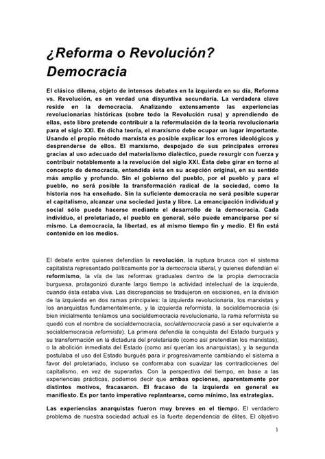 reforma o revolucin 8446041294 191 reforma o revoluci 243 n democracia