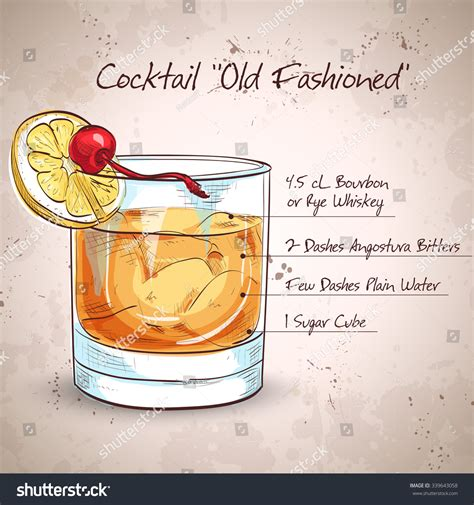 old fashioned cocktail illustration old fashioned cocktail consisting of bourbon angostura