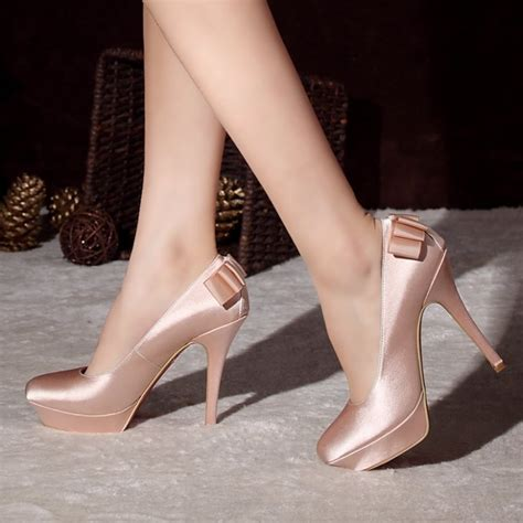 color high heels bridal shoes wedding chagne color silk high