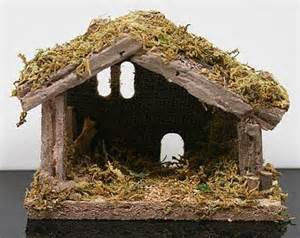 miniature moss covered wooden nativity manger christmas miniatures christmas and winter